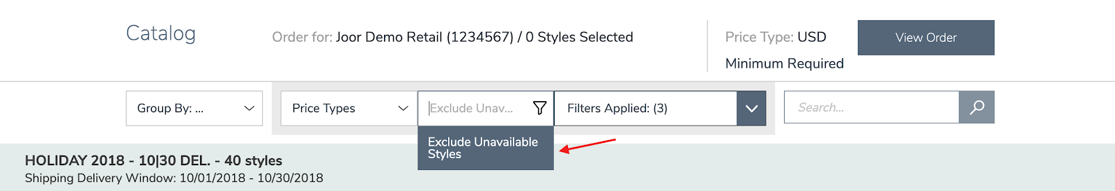 filters - exclude unavailable styles